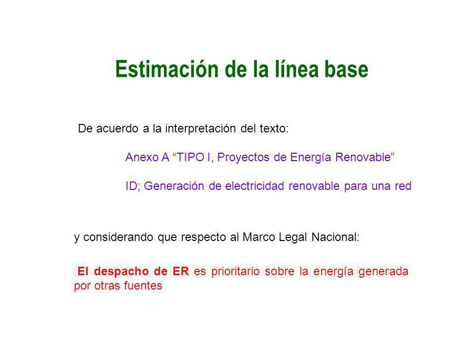 Estimación de la línea base De acuerdo a la interpretación del texto: Anexo A TIPO I, Proyectos de Energía Renovable ID; Generación de electricidad re