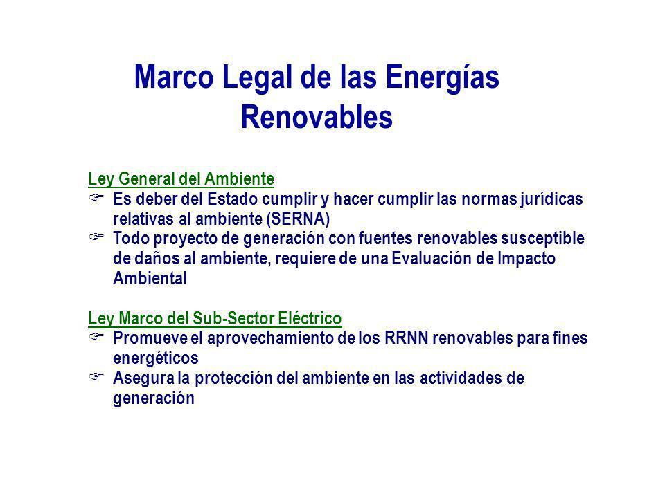 Marco Legal de las Energías Renovables Ley General del Ambiente Es deber del Estado cumplir y hacer cumplir las normas jurídicas relativas al ambiente