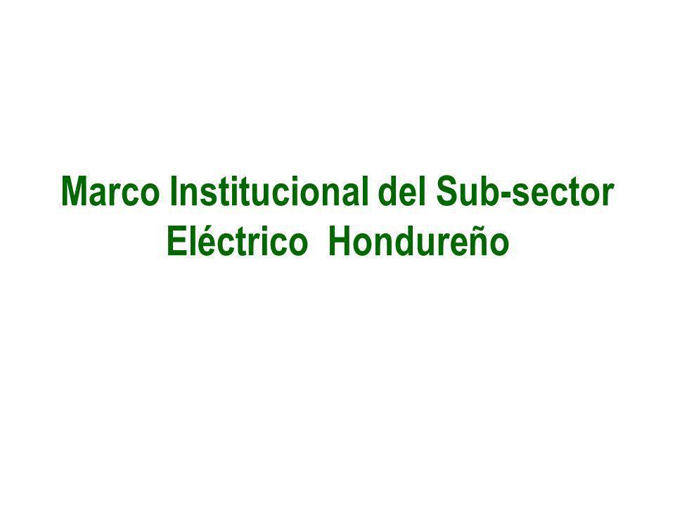 Marco Institucional del Sub-sector Eléctrico Hondureño