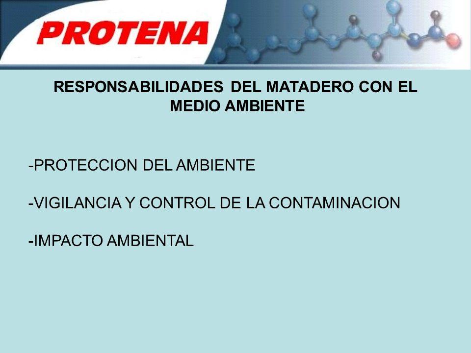 RESPONSABILIDADES DEL MATADERO CON EL MEDIO AMBIENTE -PROTECCION DEL AMBIENTE -VIGILANCIA Y CONTROL DE LA CONTAMINACION -IMPACTO AMBIENTAL