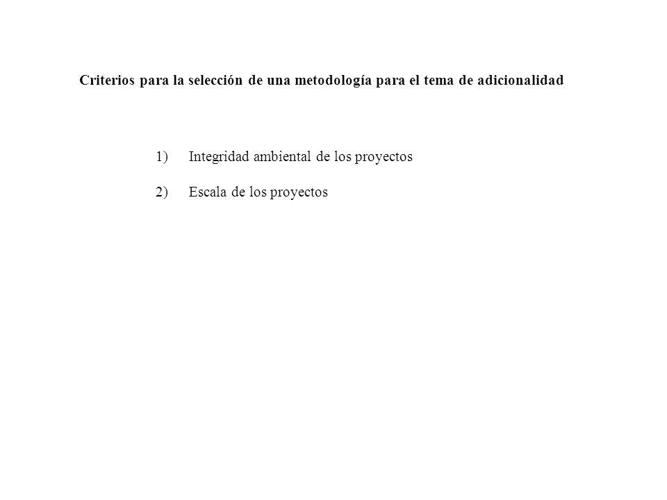 1)Integridad ambiental de los proyectos 2)Escala de los proyectos Criterios para la selección de una metodología para el tema de adicionalidad