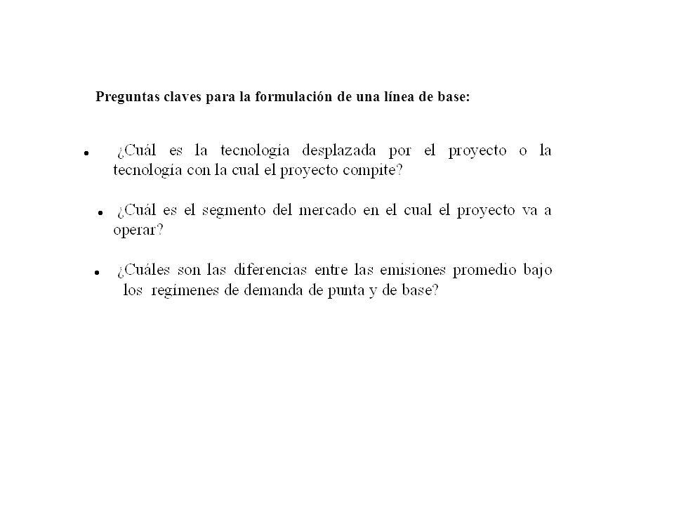 Preguntas claves para la formulación de una línea de base: