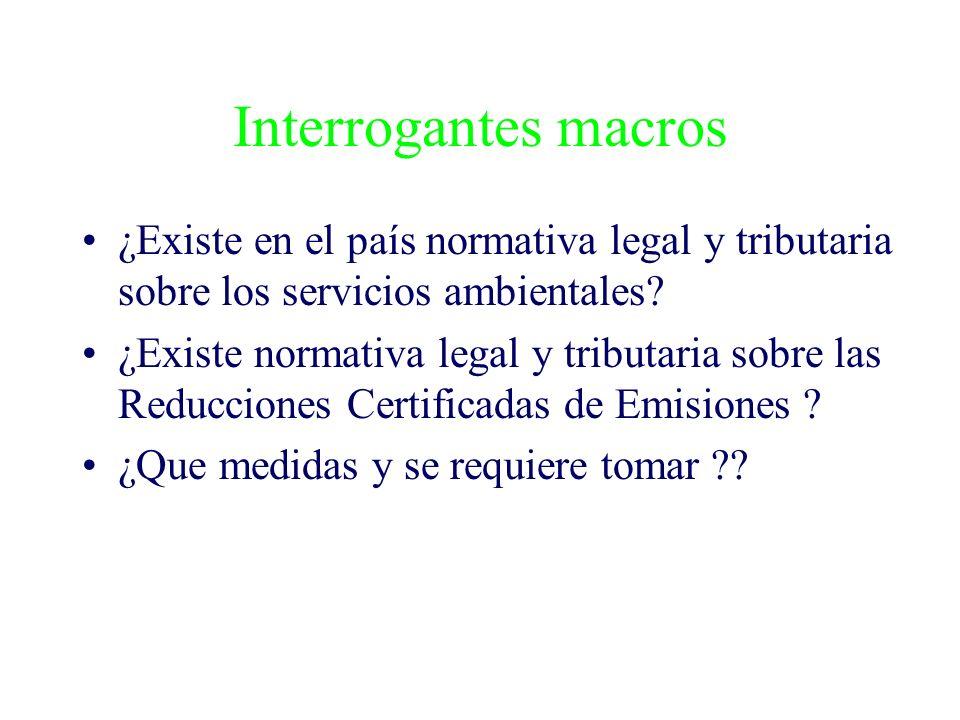 Interrogantes macros ¿Existe en el país normativa legal y tributaria sobre los servicios ambientales? ¿Existe normativa legal y tributaria sobre las R