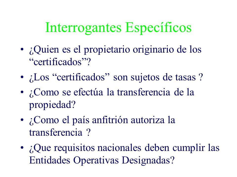 Interrogantes Específicos ¿Quien es el propietario originario de los certificados? ¿Los certificados son sujetos de tasas ? ¿Como se efectúa la transf