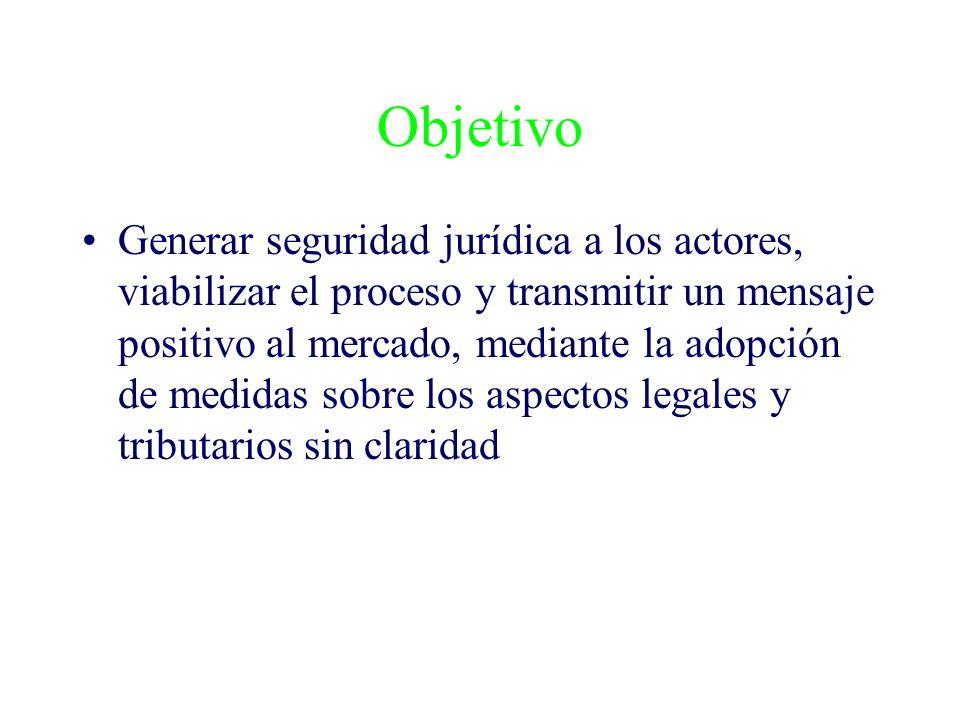 Objetivo Generar seguridad jurídica a los actores, viabilizar el proceso y transmitir un mensaje positivo al mercado, mediante la adopción de medidas