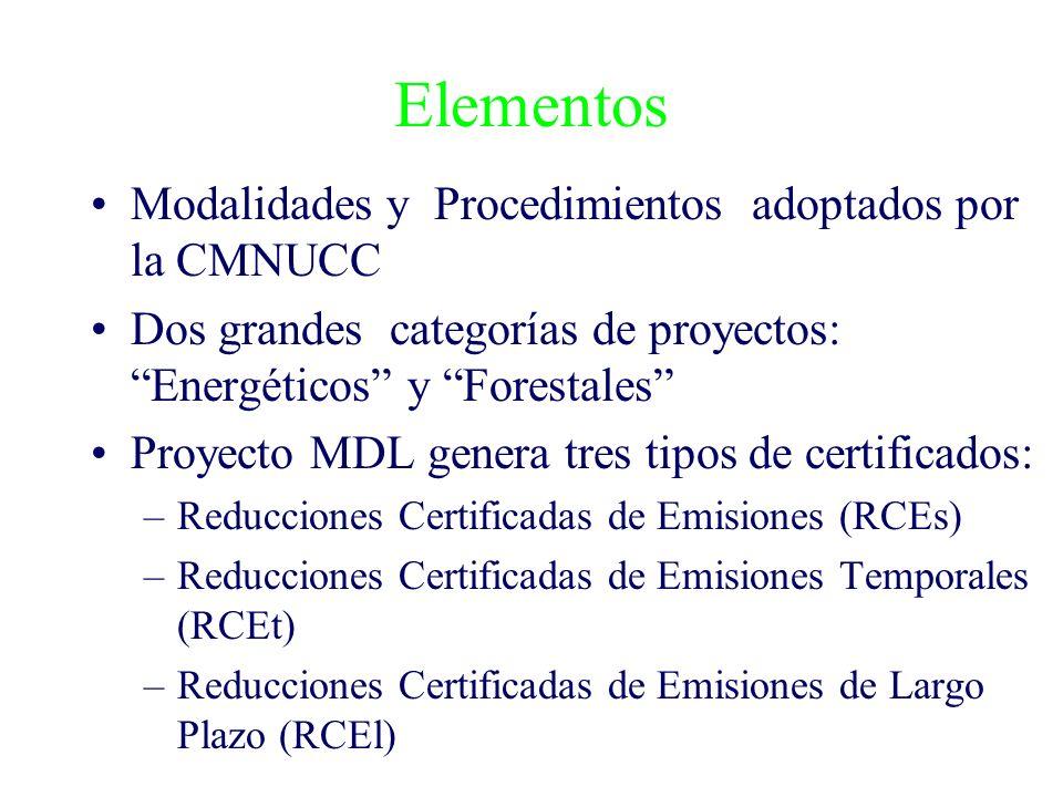Elementos Modalidades y Procedimientos adoptados por la CMNUCC Dos grandes categorías de proyectos: Energéticos y Forestales Proyecto MDL genera tres