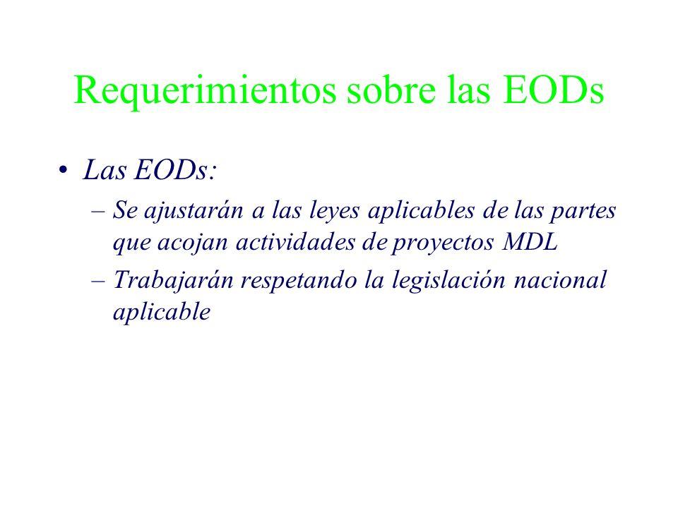 Requerimientos sobre las EODs Las EODs: –Se ajustarán a las leyes aplicables de las partes que acojan actividades de proyectos MDL –Trabajarán respeta