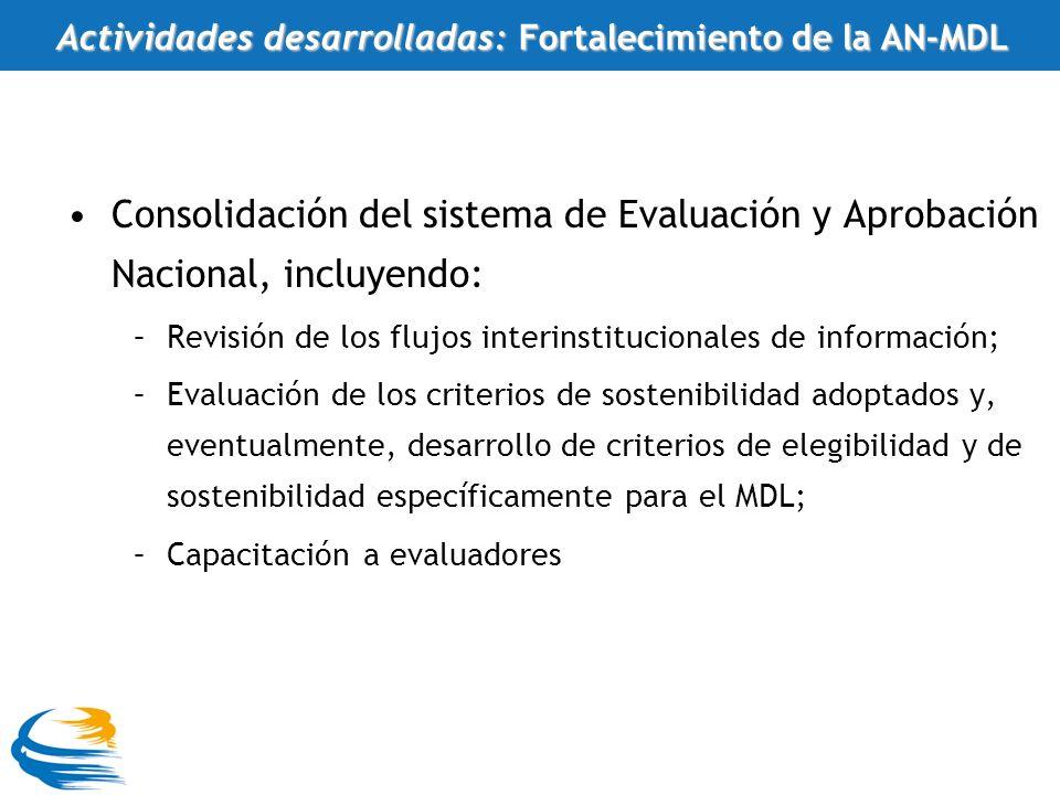 Consolidación del sistema de Evaluación y Aprobación Nacional, incluyendo: –Revisión de los flujos interinstitucionales de información; –Evaluación de los criterios de sostenibilidad adoptados y, eventualmente, desarrollo de criterios de elegibilidad y de sostenibilidad específicamente para el MDL; –Capacitación a evaluadores Actividades desarrolladas: Fortalecimiento de la AN-MDL