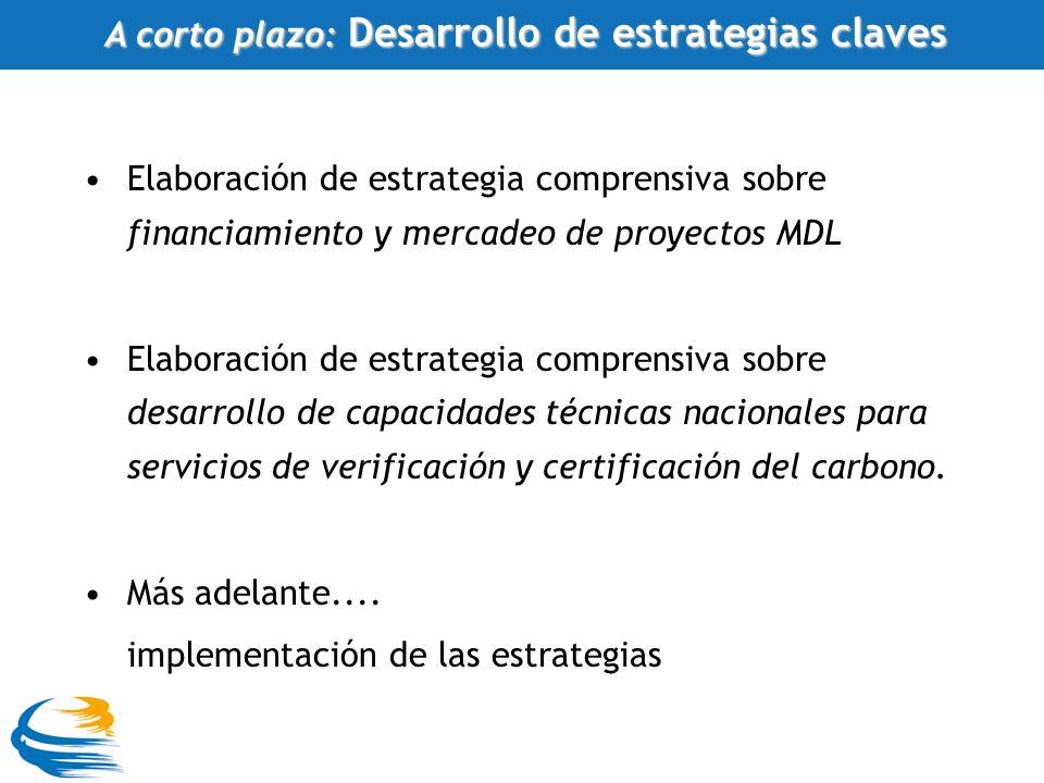 Elaboración de estrategia comprensiva sobre financiamiento y mercadeo de proyectos MDL Elaboración de estrategia comprensiva sobre desarrollo de capacidades técnicas nacionales para servicios de verificación y certificación del carbono.