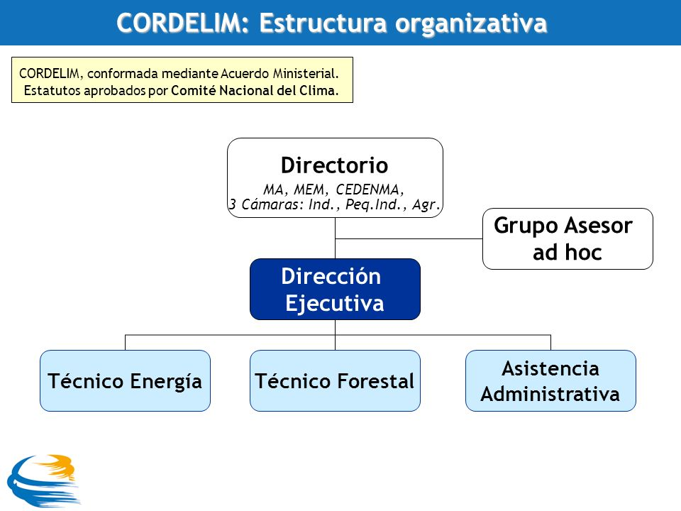 CORDELIM: Estructura organizativa CORDELIM, conformada mediante Acuerdo Ministerial.