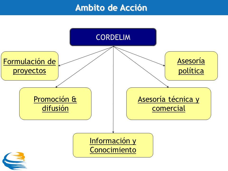 CORDELIM Promoción & difusión Formulación de proyectos Asesoría técnica y comercial Información y Conocimiento Asesoría política Ambito de Acción