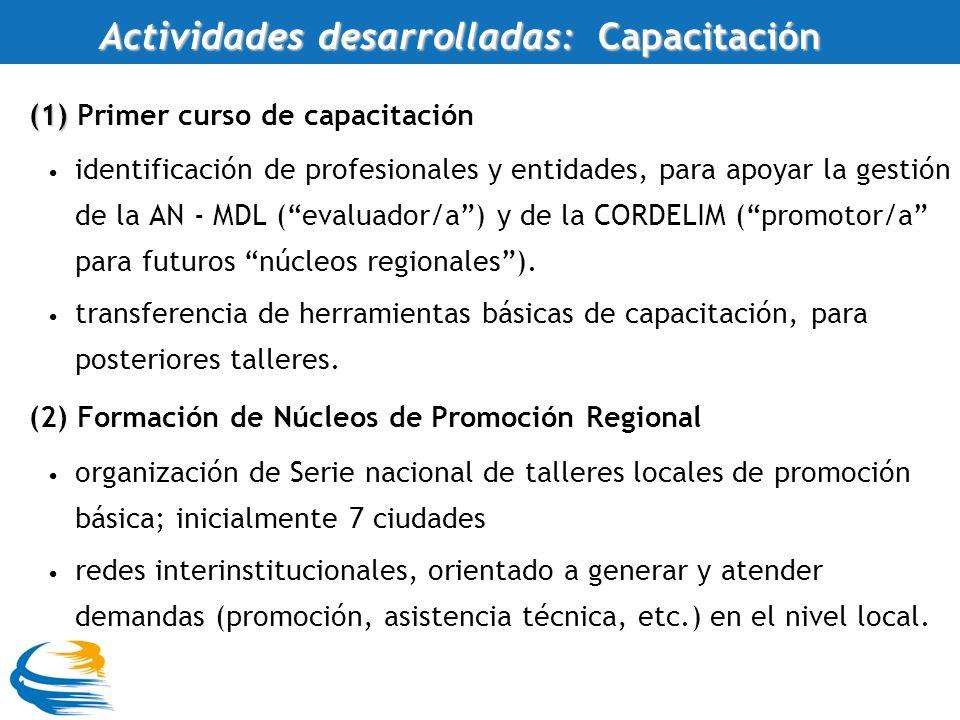 (1) (1) Primer curso de capacitación identificación de profesionales y entidades, para apoyar la gestión de la AN - MDL (evaluador/a) y de la CORDELIM (promotor/a para futuros núcleos regionales).