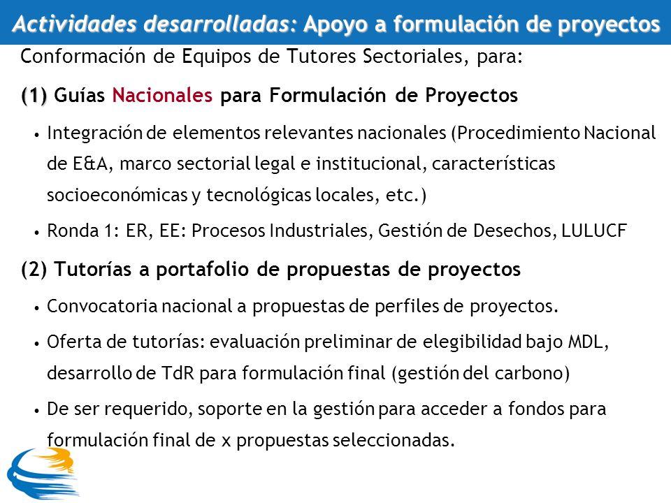 Conformación de Equipos de Tutores Sectoriales, para: (1) (1) Guías Nacionales para Formulación de Proyectos Integración de elementos relevantes nacionales (Procedimiento Nacional de E&A, marco sectorial legal e institucional, características socioeconómicas y tecnológicas locales, etc.) Ronda 1: ER, EE: Procesos Industriales, Gestión de Desechos, LULUCF (2) Tutorías a portafolio de propuestas de proyectos Convocatoria nacional a propuestas de perfiles de proyectos.