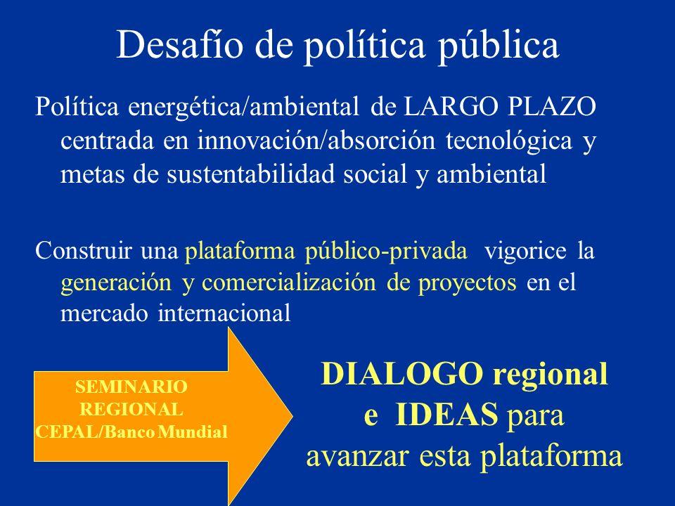 Desafío de política pública Política energética/ambiental de LARGO PLAZO centrada en innovación/absorción tecnológica y metas de sustentabilidad socia