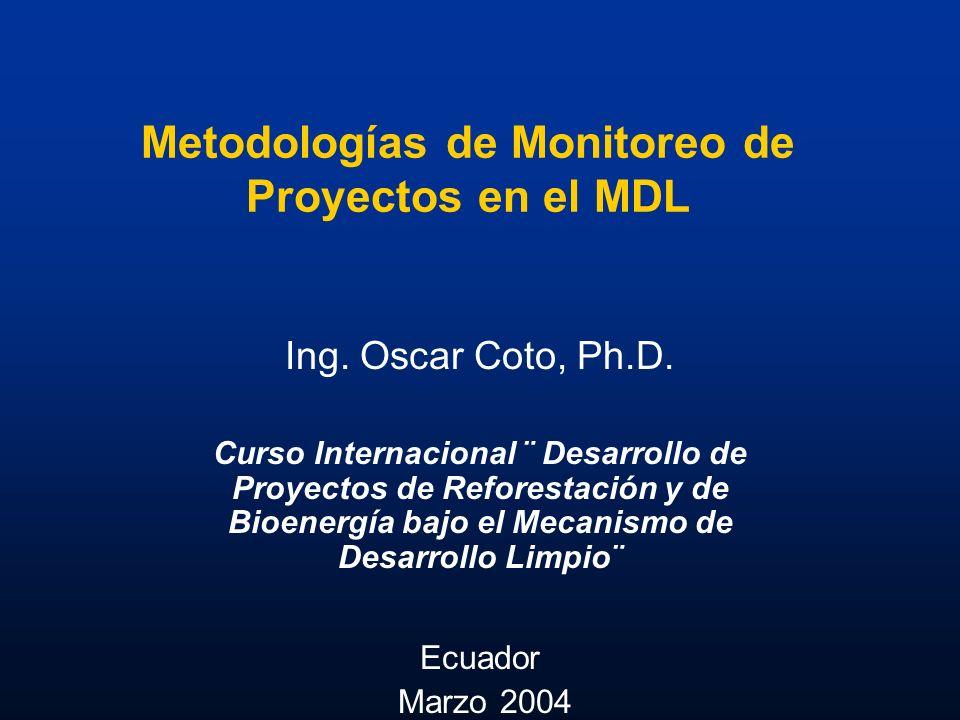 Metodologías de Monitoreo de Proyectos en el MDL Ing. Oscar Coto, Ph.D. Curso Internacional ¨ Desarrollo de Proyectos de Reforestación y de Bioenergía