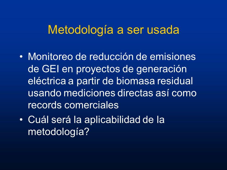 Metodología a ser usada Monitoreo de reducción de emisiones de GEI en proyectos de generación eléctrica a partir de biomasa residual usando mediciones