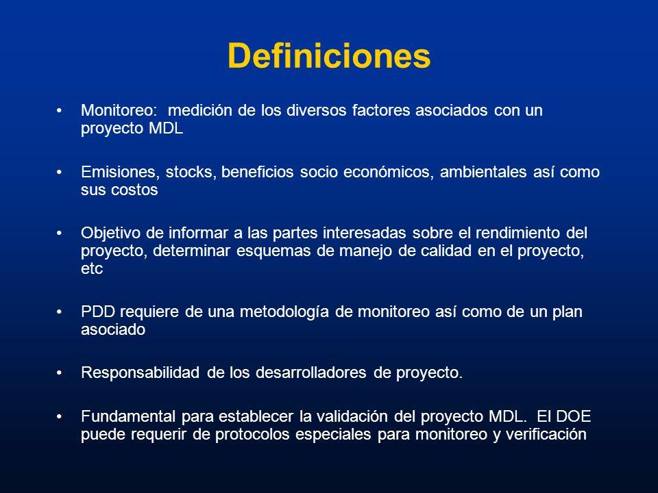 Definiciones Monitoreo: medición de los diversos factores asociados con un proyecto MDL Emisiones, stocks, beneficios socio económicos, ambientales as