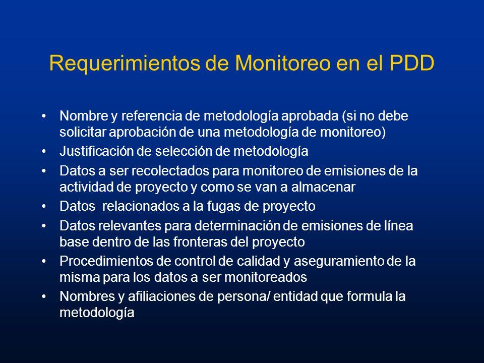 Requerimientos de Monitoreo en el PDD Nombre y referencia de metodología aprobada (si no debe solicitar aprobación de una metodología de monitoreo) Ju