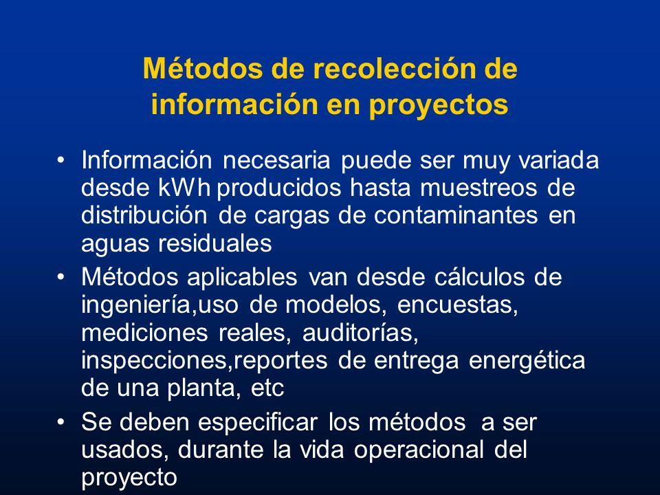 Métodos de recolección de información en proyectos Información necesaria puede ser muy variada desde kWh producidos hasta muestreos de distribución de