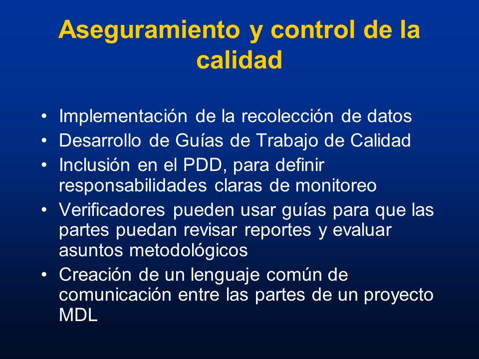Aseguramiento y control de la calidad Implementación de la recolección de datos Desarrollo de Guías de Trabajo de Calidad Inclusión en el PDD, para de