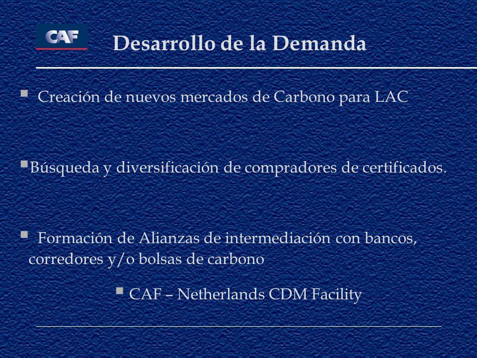 Desarrollo de la Demanda Creación de nuevos mercados de Carbono para LAC Búsqueda y diversificación de compradores de certificados. Formación de Alian
