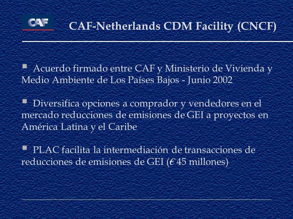 CAF-Netherlands CDM Facility (CNCF) Acuerdo firmado entre CAF y Ministerio de Vivienda y Medio Ambiente de Los Países Bajos - Junio 2002 Diversifica o