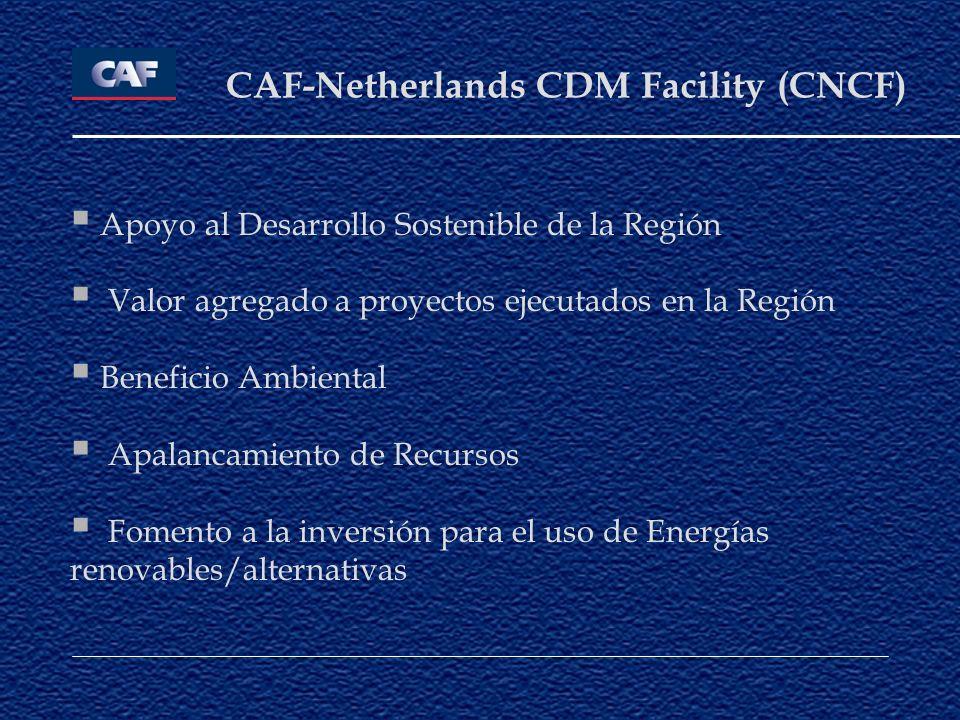 CAF-Netherlands CDM Facility (CNCF) Apoyo al Desarrollo Sostenible de la Región Valor agregado a proyectos ejecutados en la Región Beneficio Ambiental