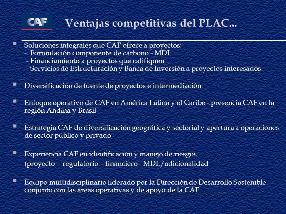Ventajas competitivas del PLAC... Soluciones integrales que CAF ofrece a proyectos: - Formulación componente de carbono - MDL - Financiamiento a proye