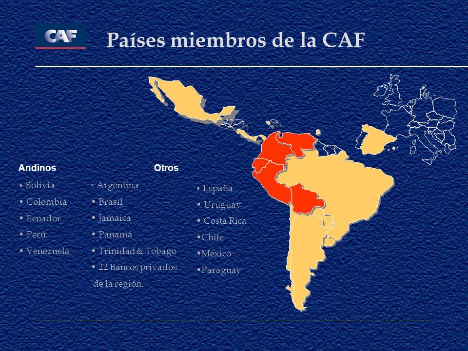 Países miembros de la CAF Otros Argentina Brasil Jamaica Panamá Trinidad & Tobago 22 Bancos privados de la región. España Uruguay Costa Rica Chile Méx