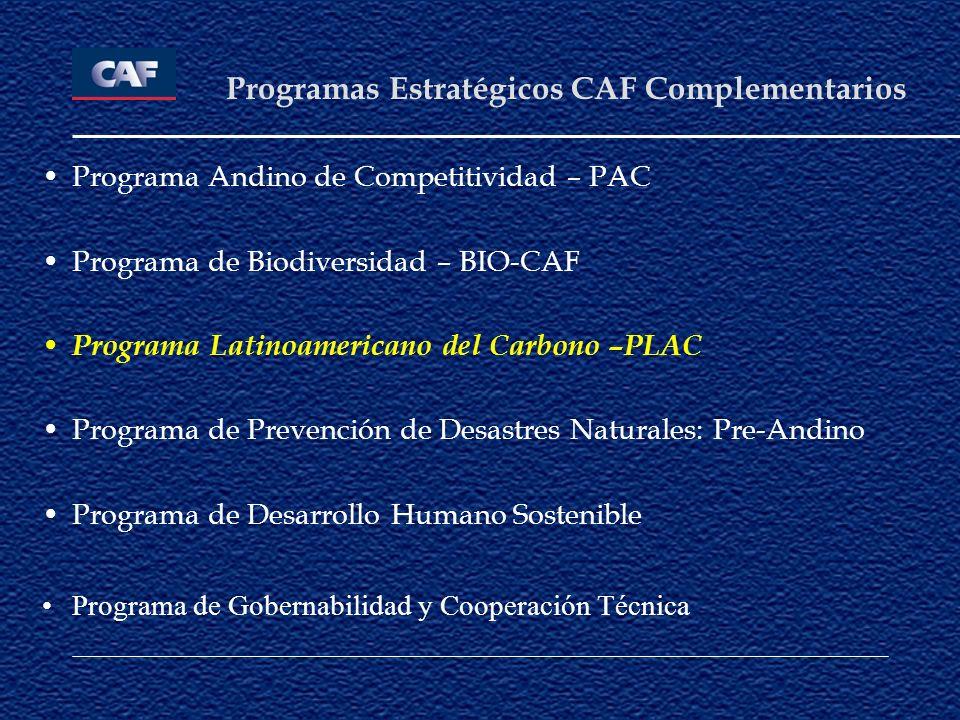 Programa Andino de Competitividad – PAC Programa de Biodiversidad – BIO-CAF Programa Latinoamericano del Carbono –PLAC Programa de Prevención de Desas