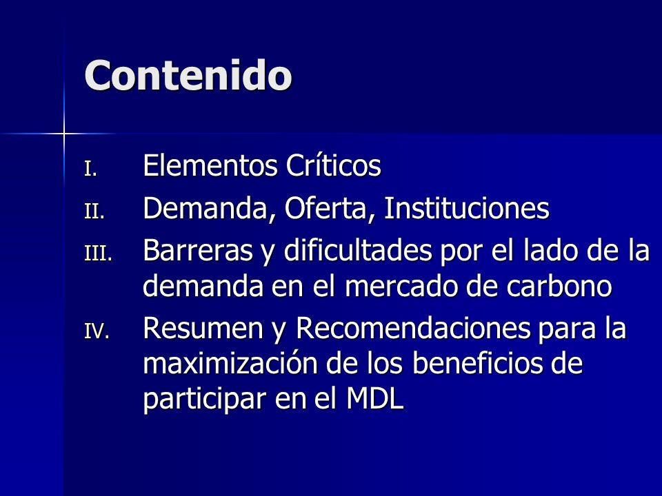 Contenido I.Elementos Críticos II. Demanda, Oferta, Instituciones III.
