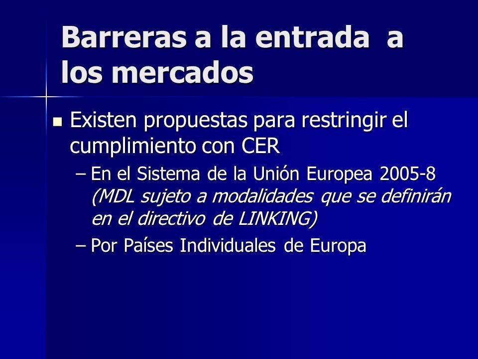 III. BARRERAS Y DIFICULTADES A LA PARTICIPACION EN EL MERCADO Pueden afectar el desarrollo del mercado, el precio de los CER y el flujo de inversión h