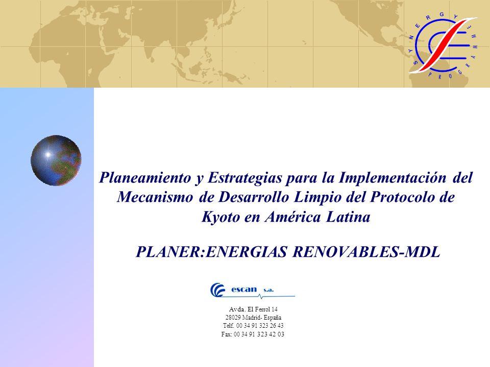 Planeamiento y Estrategias para la Implementación del Mecanismo de Desarrollo Limpio del Protocolo de Kyoto en América Latina PLANER:ENERGIAS RENOVABLES-MDL Avda.