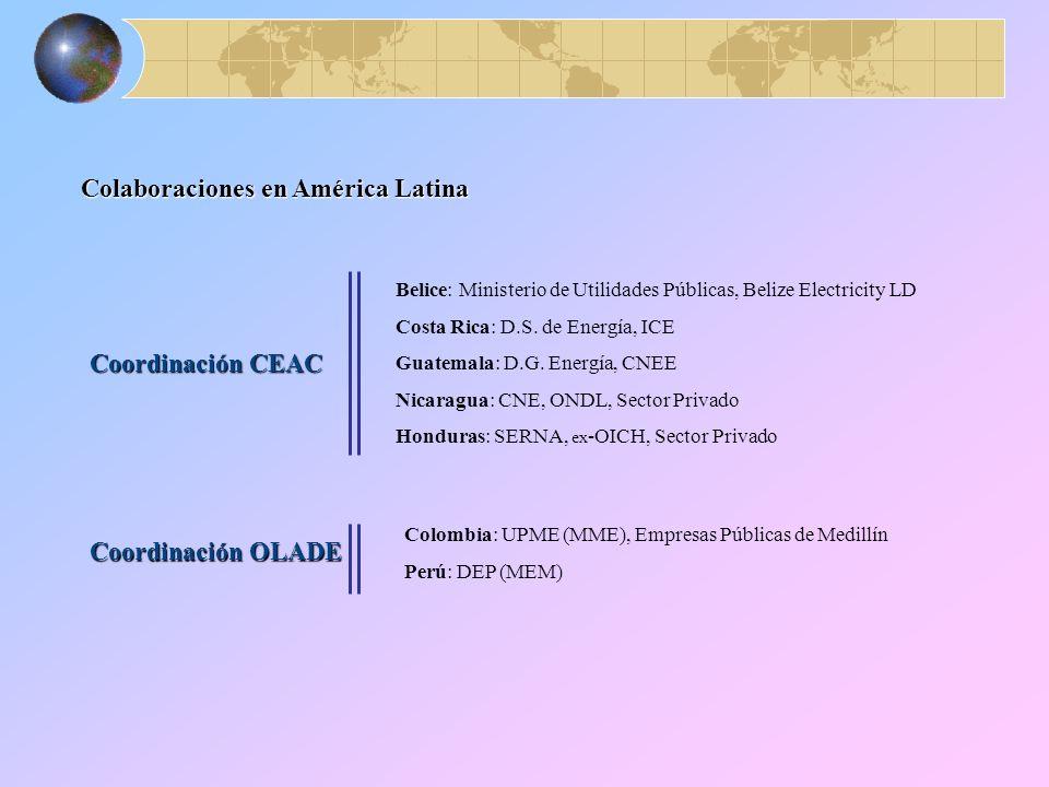 Colaboraciones en América Latina Coordinación CEAC Coordinación OLADE Belice: Ministerio de Utilidades Públicas, Belize Electricity LD Costa Rica: D.S.