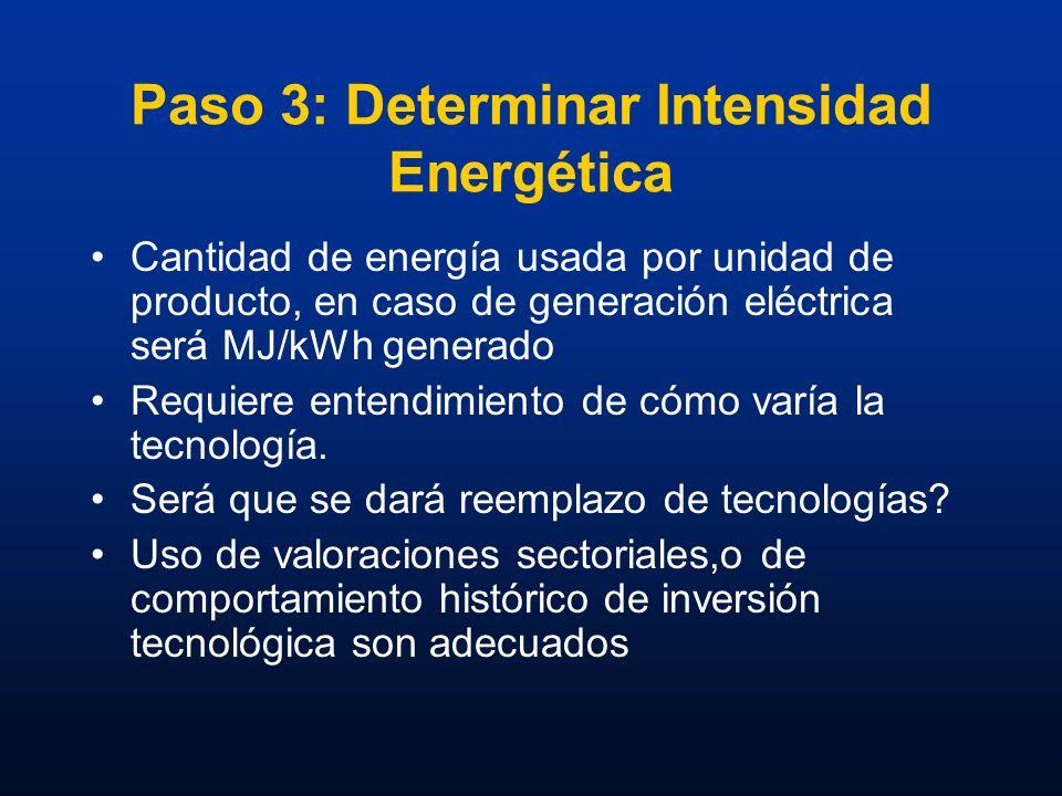 Paso 3: Determinar Intensidad Energética Cantidad de energía usada por unidad de producto, en caso de generación eléctrica será MJ/kWh generado Requie