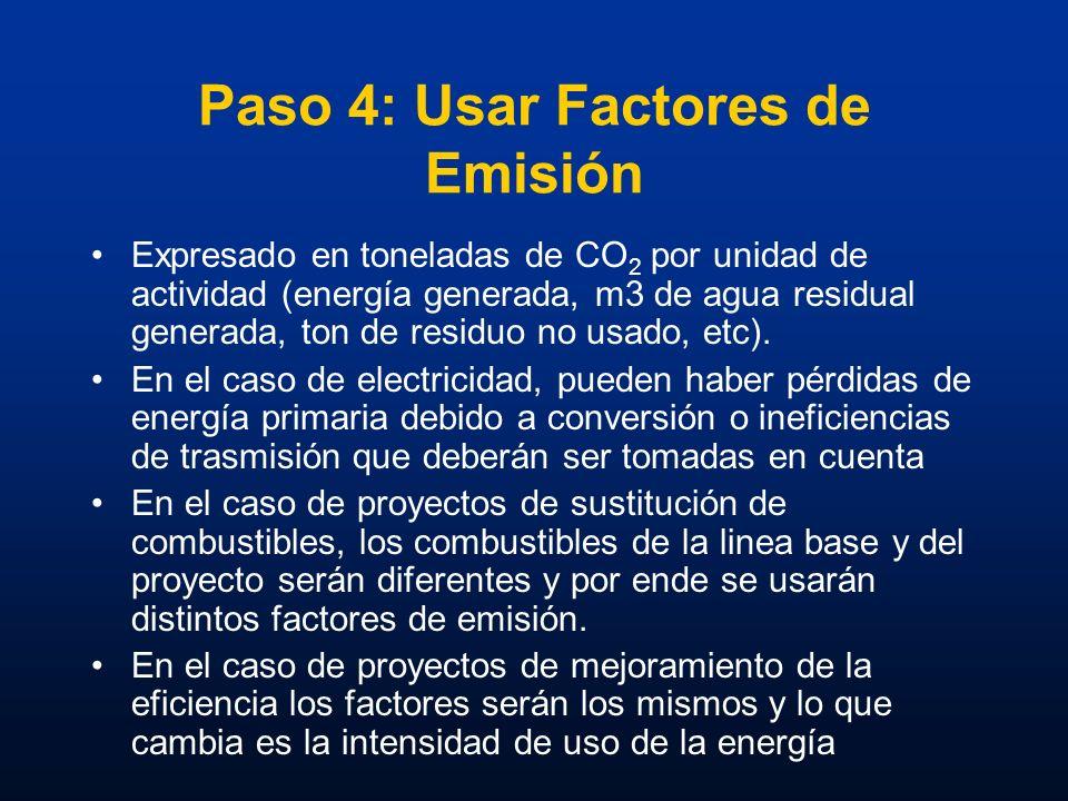 Paso 4: Usar Factores de Emisión Expresado en toneladas de CO 2 por unidad de actividad (energía generada, m3 de agua residual generada, ton de residu