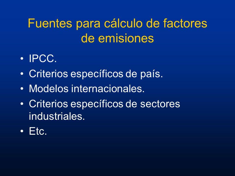 Fuentes para cálculo de factores de emisiones IPCC. Criterios específicos de país. Modelos internacionales. Criterios específicos de sectores industri
