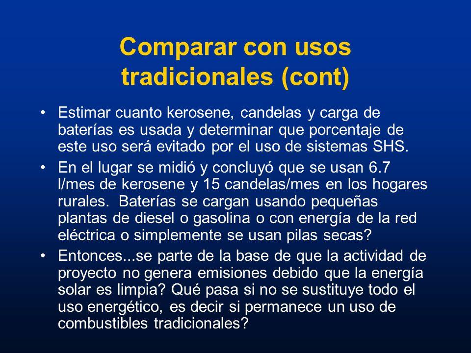 Comparar con usos tradicionales (cont) Estimar cuanto kerosene, candelas y carga de baterías es usada y determinar que porcentaje de este uso será evi