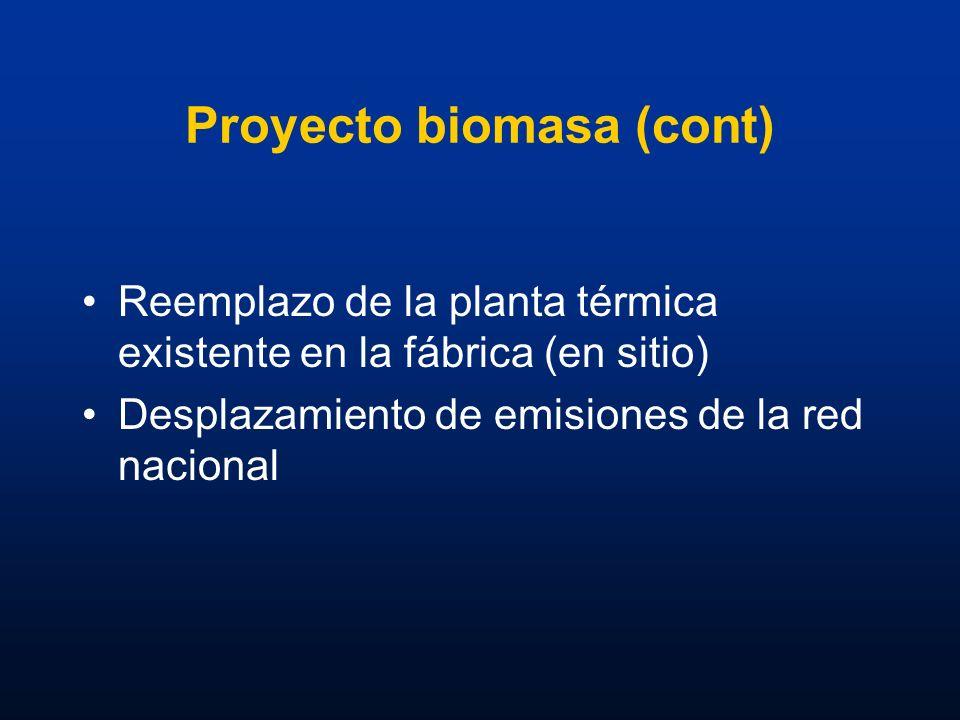 Proyecto biomasa (cont) Reemplazo de la planta térmica existente en la fábrica (en sitio) Desplazamiento de emisiones de la red nacional