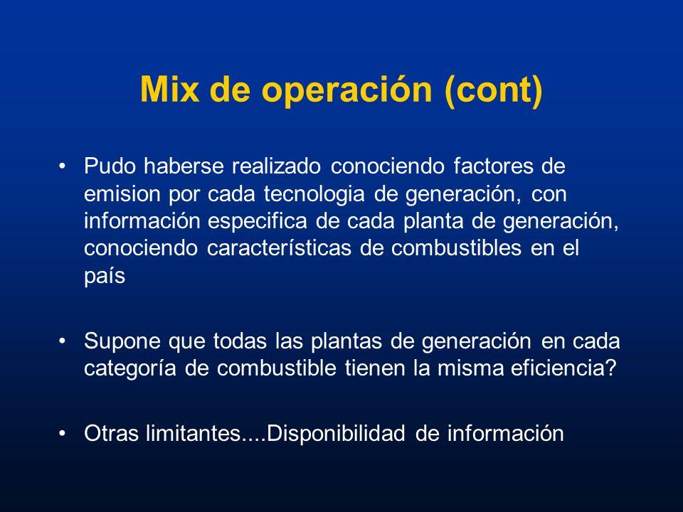 Mix de operación (cont) Pudo haberse realizado conociendo factores de emision por cada tecnologia de generación, con información especifica de cada pl