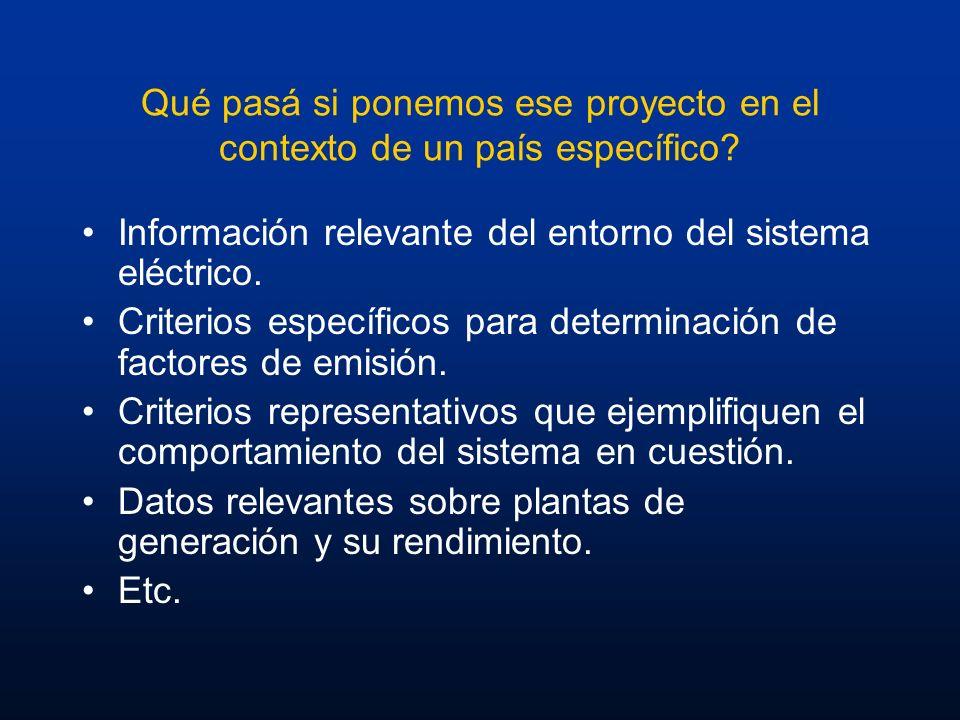Qué pasá si ponemos ese proyecto en el contexto de un país específico? Información relevante del entorno del sistema eléctrico. Criterios específicos