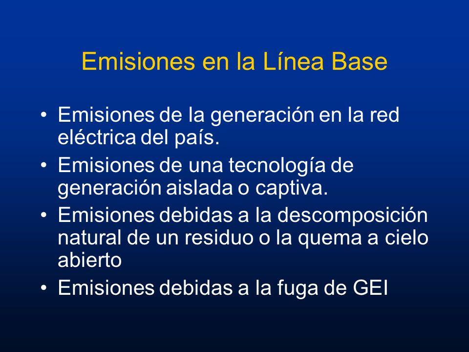 Emisiones en la Línea Base Emisiones de la generación en la red eléctrica del país. Emisiones de una tecnología de generación aislada o captiva. Emisi