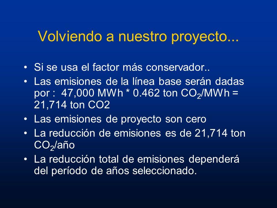 Volviendo a nuestro proyecto... Si se usa el factor más conservador.. Las emisiones de la línea base serán dadas por : 47,000 MWh * 0.462 ton CO 2 /MW