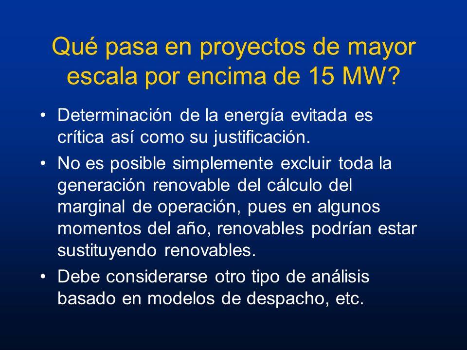 Qué pasa en proyectos de mayor escala por encima de 15 MW? Determinación de la energía evitada es crítica así como su justificación. No es posible sim