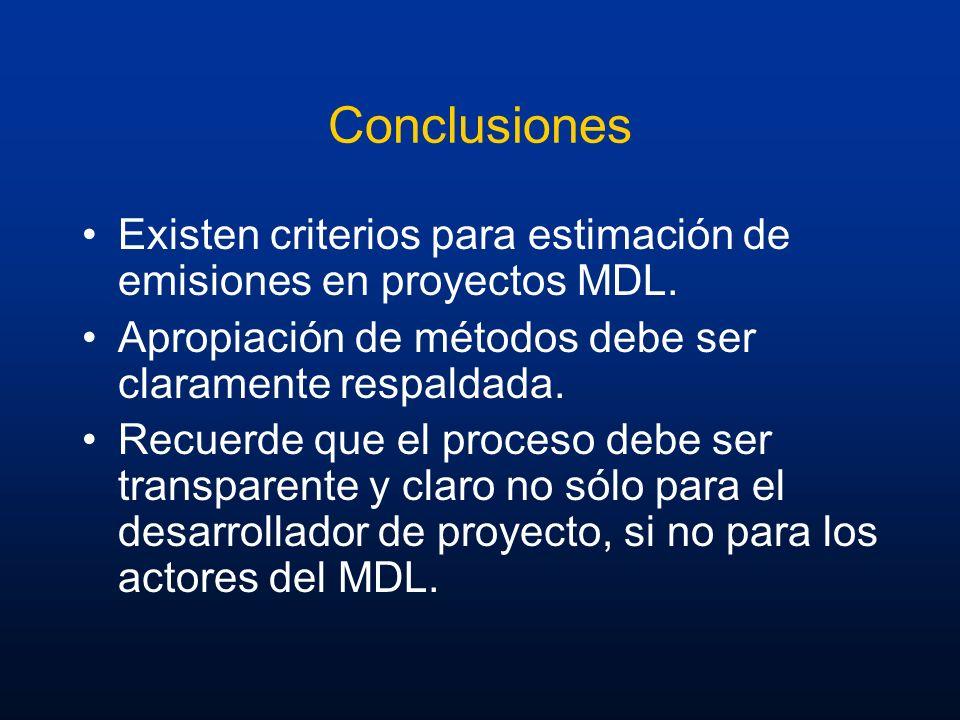 Conclusiones Existen criterios para estimación de emisiones en proyectos MDL. Apropiación de métodos debe ser claramente respaldada. Recuerde que el p