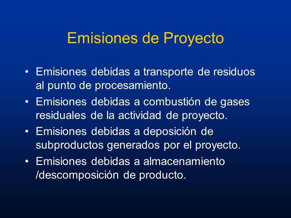Emisiones de Proyecto Emisiones debidas a transporte de residuos al punto de procesamiento. Emisiones debidas a combustión de gases residuales de la a