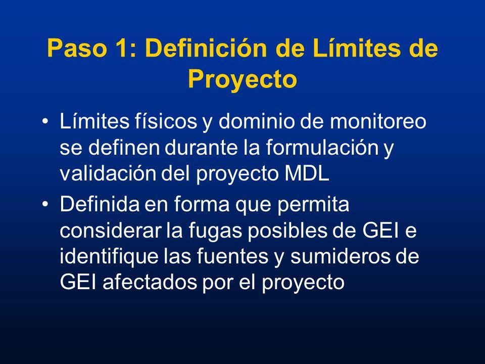 Paso 1: Definición de Límites de Proyecto Límites físicos y dominio de monitoreo se definen durante la formulación y validación del proyecto MDL Defin