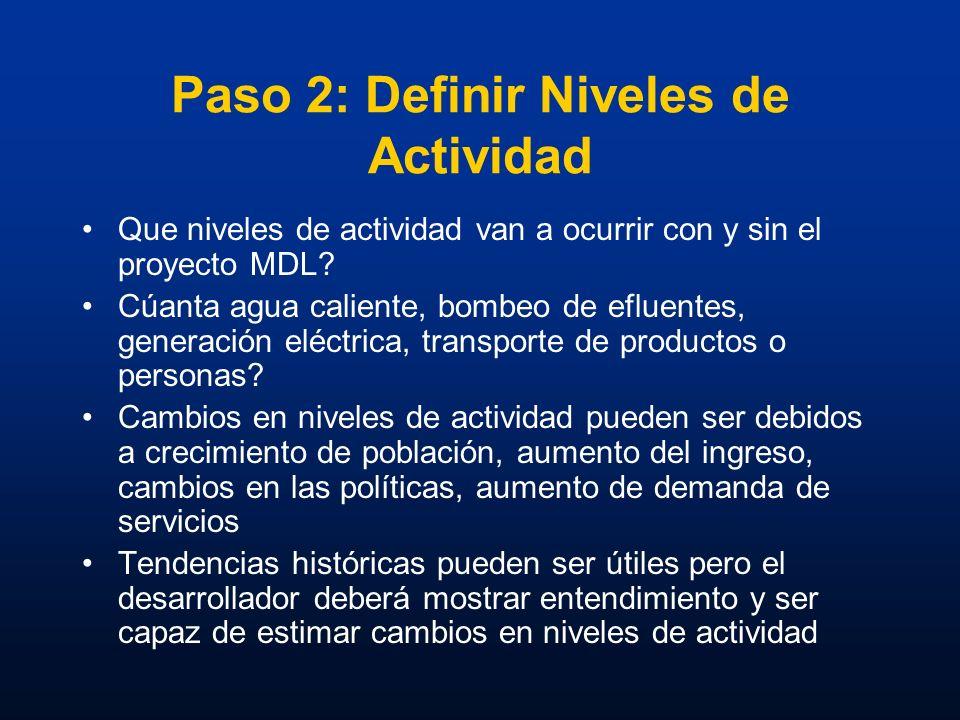 Paso 2: Definir Niveles de Actividad Que niveles de actividad van a ocurrir con y sin el proyecto MDL? Cúanta agua caliente, bombeo de efluentes, gene