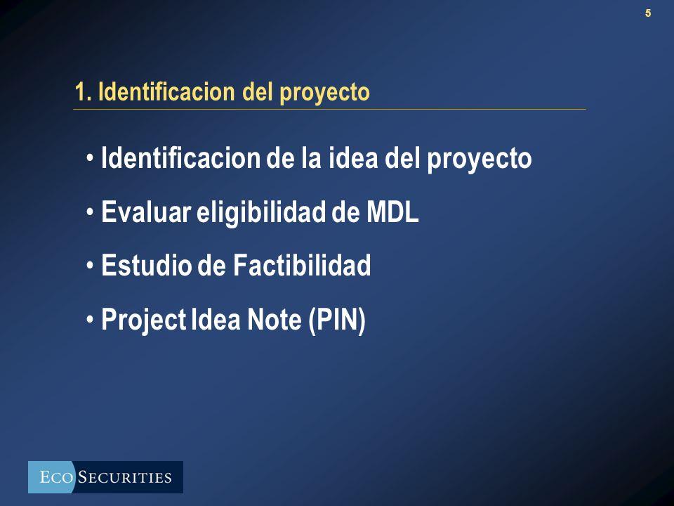 5 1. Identificacion del proyecto Identificacion de la idea del proyecto Evaluar eligibilidad de MDL Estudio de Factibilidad Project Idea Note (PIN)