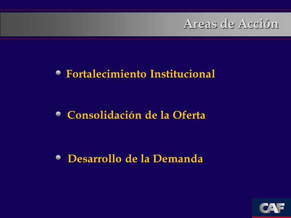 Fortalecimiento Institucional Consolidación de la Oferta Desarrollo de la Demanda Areas de Acción